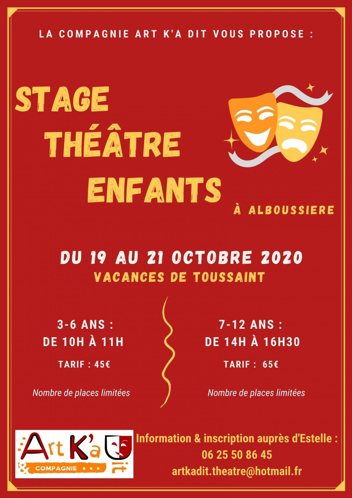 Stages theatre vacances toussaint 2020